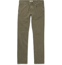 Incotex Slim Fit Stretch Cotton Twill Trousers Brown
