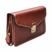 Maxwell Scott Bags The Santino Mens Leather Clutch Bag With Wrist Strap Chestnut Tan Brown