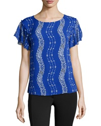 Marchesa Voyage Floral Print Ruffled Sleeve Tee Royal Stripe