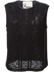 8Pm Sheer Navajo Trim Top Black