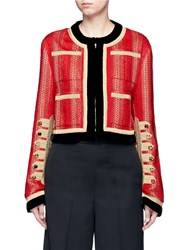 Givenchy Decorative Button Velvet Trim Military Embroidery Jacket Red