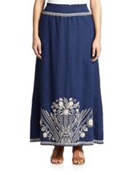 Johnny Was Plus Size Embroidered Maxi Skirt Navy White