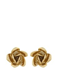 Oscar De La Renta Rose Stud Earrings Gold