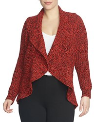Chaus Drape Front Cable Stitch Cardigan Red Black