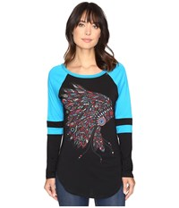 Rock And Roll Cowgirl Long Sleeve Tee 48T9195 Bright Turquoise Women's T Shirt Blue