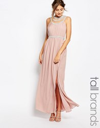 Tfnc Tall Multi Row Embellished Maxi Dress Mauve Pink