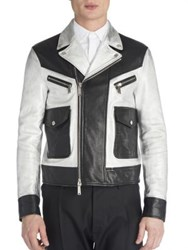 Dsquared Leather Two Toned Jacket Black Silver