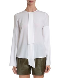 Givenchy Silk Crepe Neck Tie Blouse White