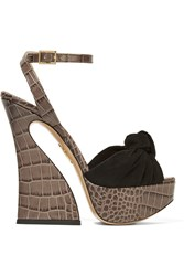 Charlotte Olympia Vreeland Croc Effect Leather And Suede Platform Sandals Dark Gray