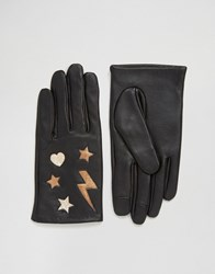 Asos Leather Star And Lightning Bolt Metallic Gloves Black