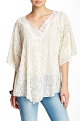 Jwla By Johnny Was Embroidered Elbow Length Sleeve Blouse White