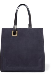 Halston Suede And Leather Tote Blue