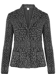 Armani Collezioni Grey Boucle Wool Blend Jacket Charcoal
