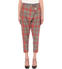 Anglomania Double Front Flap Tartan Wool Trousers