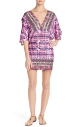 Nanette Lepore 'Sunset' Lace Neck Cover Up Tunic Multi