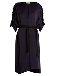Maison Rabih Kayrouz Ruched Sleeved Satin Midi Dress Navy