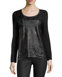 Alberto Makali Long Sleeve Faux Leather Top Black