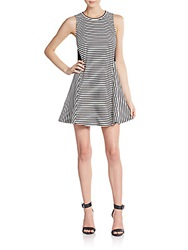 Autograph Addison Mixed Striped Fit And Flare Dress Black White