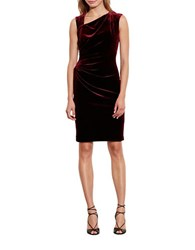 Lauren Ralph Lauren Stretch Velvet Sheath Dress Cordovan