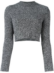 Carven Ribbed Cropped Jumper Black