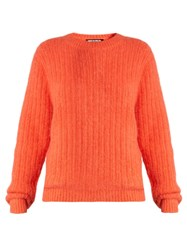 House Of Holland Crew Neck Ribbed Knit Sweater Orange