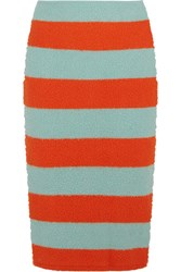 Max Mara Striped Slub Stretch Wool Blend Pencil Skirt Bright Orange