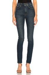 Saint Laurent Skinny 5 Pocket High Waist In Blue