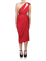 Lanvin Asymmetrical Draped Ruched Dress Red