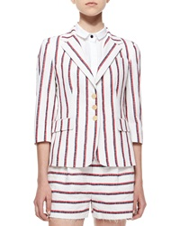 Band Of Outsiders 3 4 Sleeve Striped Schoolboy Blazer Uk 1 2 Us