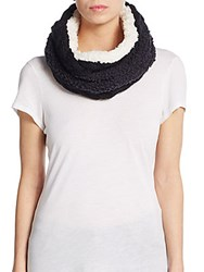 Saks Fifth Avenue Two Tone Faux Fur Infinity Scarf Black Multi