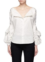 Johanna Ortiz 'Anna Beth' Puffed Sleeve Braided Embroidery Shirt White