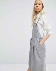 Native Youth Minimal Pinafore Midi Dress Grey