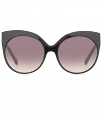 Linda Farrow White Gold Plated Cat Eye Sunglasses Black
