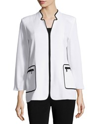 Misook Long Sleeve Knit Jacket W Contrast Trim Whb