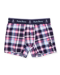 Psycho Bunny Plaid Boxer Briefs Pink Navy