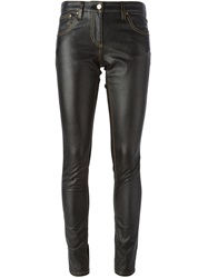 Roberto Cavalli Artificial Leather Panel Skinny Jeans Black
