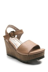 Two Lips Too Indie Platform Wedge Sandal Beige