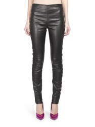 Saint Laurent Heart Stud Leather Leggings Black Grey