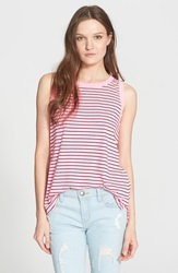 Current Elliott 'The Muscle Tee' Stripe Tank Highlighter Pink