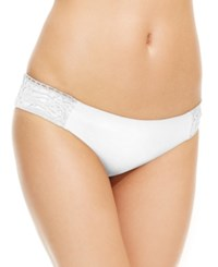 Becca Solid Lace Applique Side Tab Bikini Bottom Women's Swimsuit White