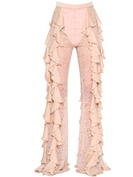 Balmain Ruffled Crepe And Lace Pants