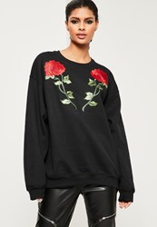 Missguided Black Applique Rose Detail Sweatshirt
