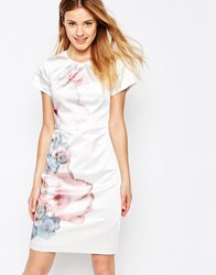 Yumi Uttam Boutique Cherry Blossom Placement Print Dress Cream