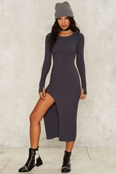 Nasty Gal Kiara Knit Maxi Dress Gray
