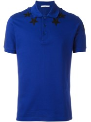 Givenchy Star Embroidered Polo Shirt Blue