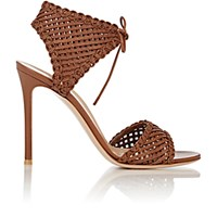 Gianvito Rossi Women's Woven Leather Ankle Tie Sandals Brown