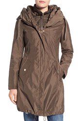 Laundry By Shelli Segal Women's Pillow Collar Raincoat With Detachable Quilted Hooded Bib Insert Green Olive