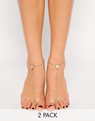 Asos Pack Of Two Triangle Anklet And Toe Ring Gold