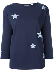 Chinti And Parker Stars Applique T Shirt Blue