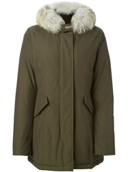 Woolrich Coyote Fur Trim Padded Parka Green